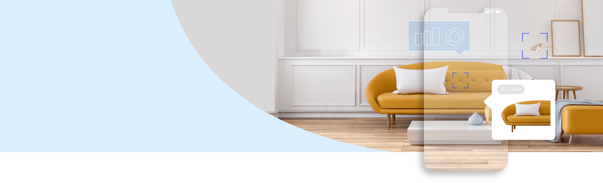 Header image of a fashionable living area with a modern orange sofa and an overlay in the shape of a mobile phone