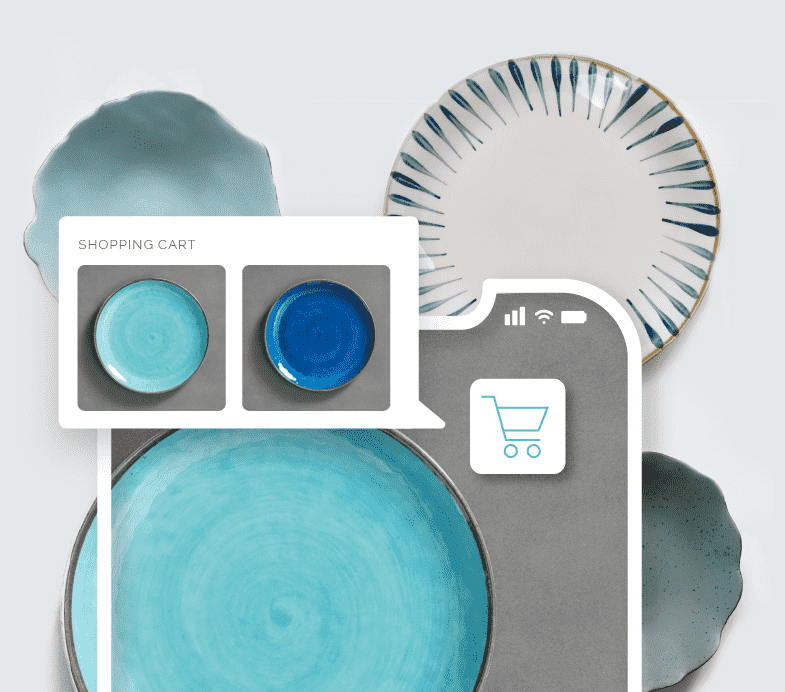Image of blue plate with similar plates