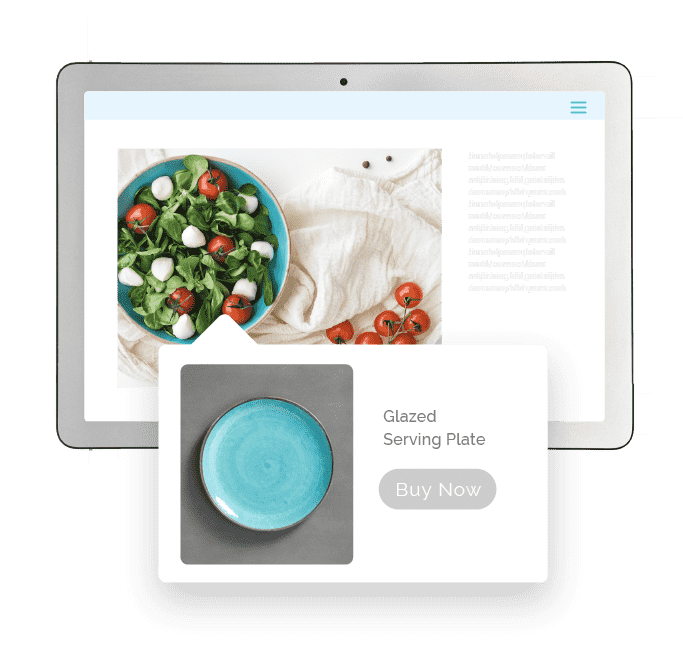 Image of a blue plate with food with a pop out of an ad for the blue plate