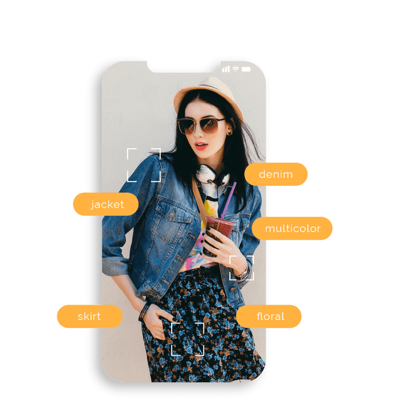 Image of a fashionably dressed woman inset within a mobile phone frame surrounded by attributes of the clothing she is wearing.