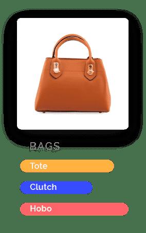 Image of an orange handbag and attributes underneath
