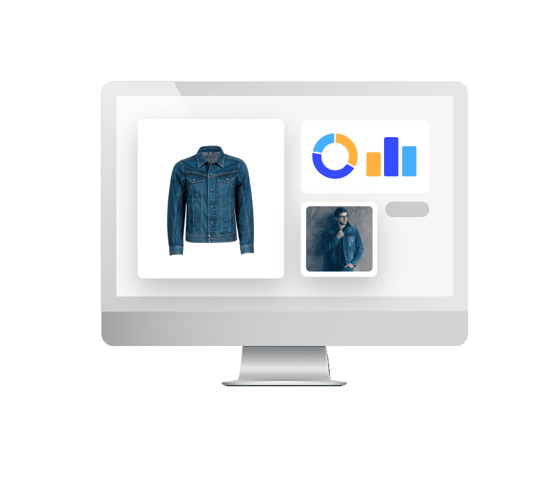 Image of a computer monitor featuring an inset image of a denim jacket on the left and charts and a man wearing the jacket on the right