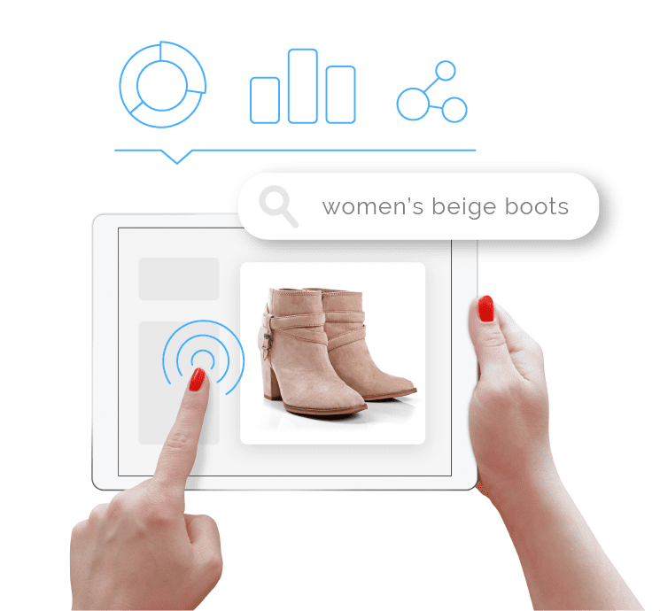 Illustration of a hand pressing on a tablet with an image of beige boots and chart icons representing insightful data