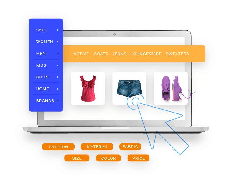 Image of laptop displaying a shirt, shorts, and shoes with am mouse cursor hovering over jeans and attributes displayed to the left, top, and bottom