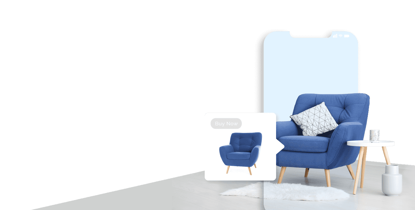 Image of a fashionable blue chair overlayed with a mobile phone screen and an inset of a the chair from an ad to the left fo the chair.