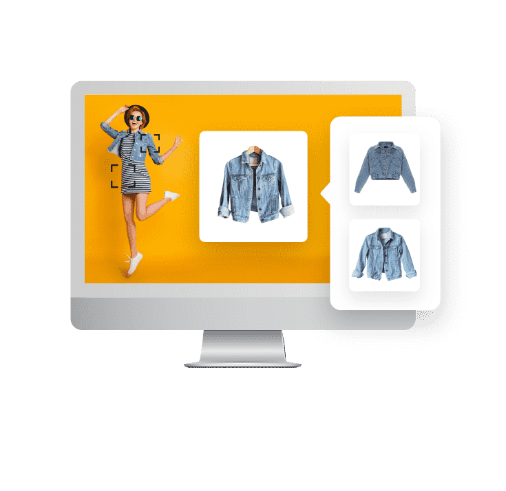 Image of a computer monitor with a photo of a fashionably dressed woman and a focus image off to the right of the denim jacket she is wearing