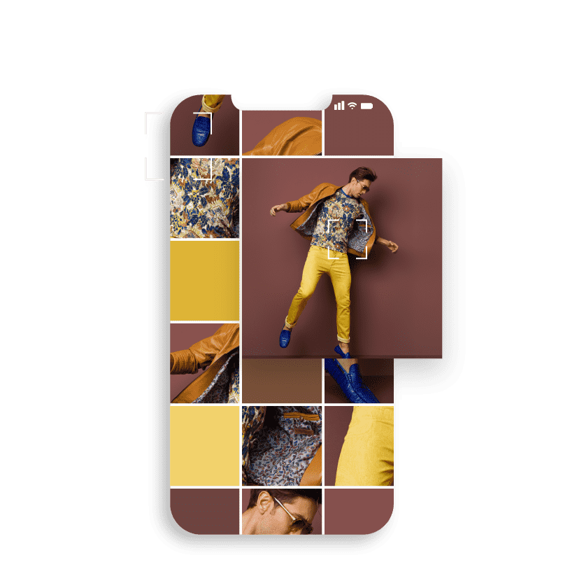Image of a mobile phone featuring a fashionable dressed man