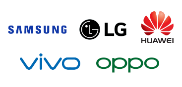 Logos for Samsung, LG, Huawei, Vivo, and Oppo