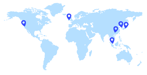 A world map with pins marking ViSenze office locations in Singapore, Beijing, Dublin, and San Francisco.