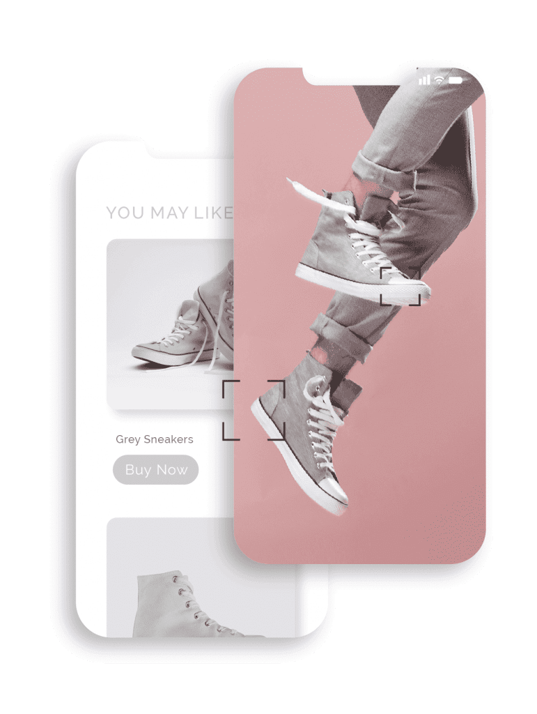 Mobile phone screen displaying close up action shots of trendy grey tennis shoes and the shoe in ads