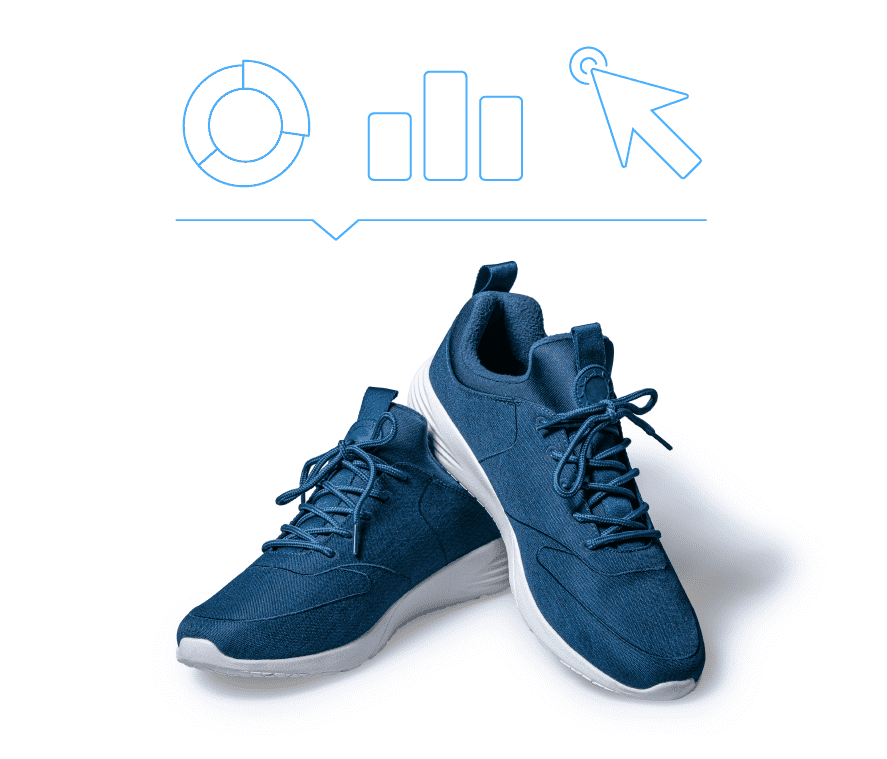Blue sneakers with outlines of various charts above