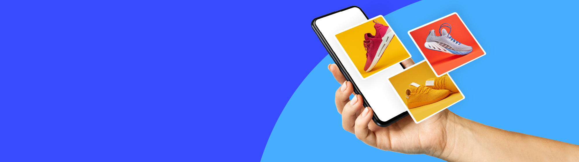 Hand holding a mobile phone with fly out images of red, blue, and yellow sneakers