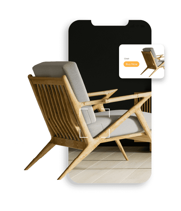 Mobile phone screen displaying a retro modern grey chair with an inset ad of the same chair