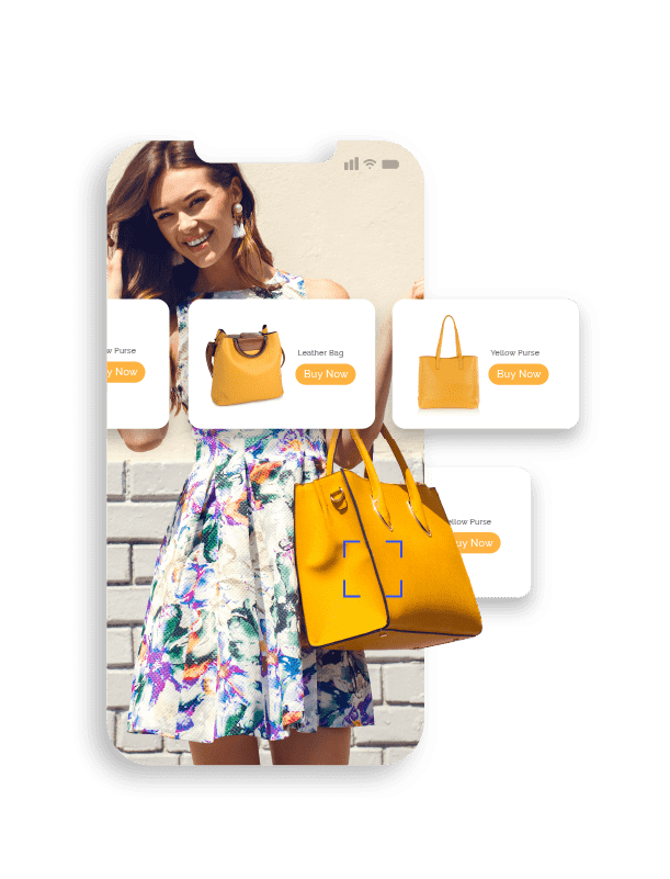 Mobile phone screen displaying a young woman holding a yellow handbag and a row of ads showing similar yellow handbags