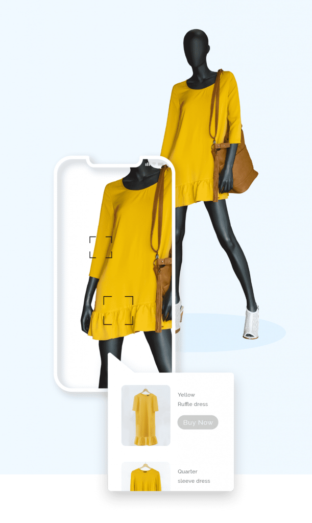 Mannequin wearing a yellow dress, white shoes, and brown handbag, with a mobile phone screen overlaid and a call out box displaying variations of the yellow dress
