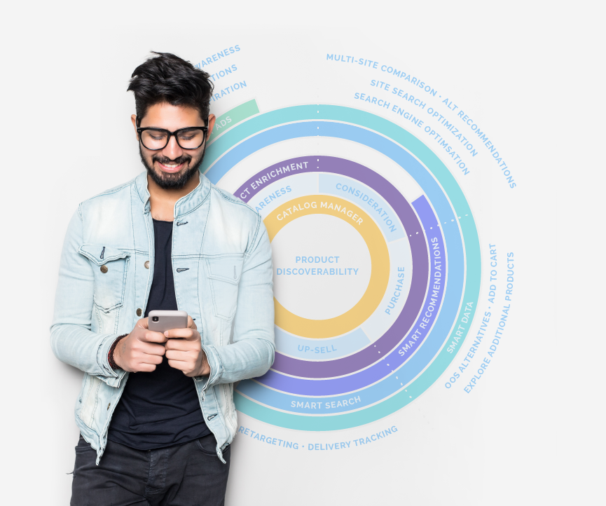 Smiling man standing in front of a circle chart, looking down at mobile phone in his hands