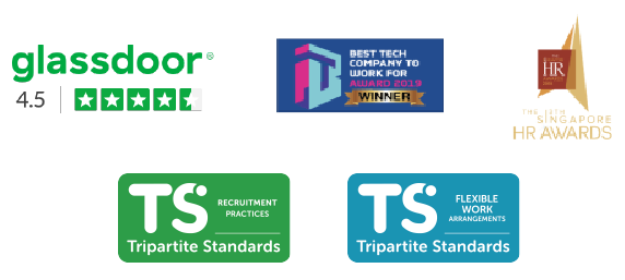 Badges for various workplace awards from Glassdoor, HR Awards, Best Tech Company to Work Fro, Tirpartite Standards