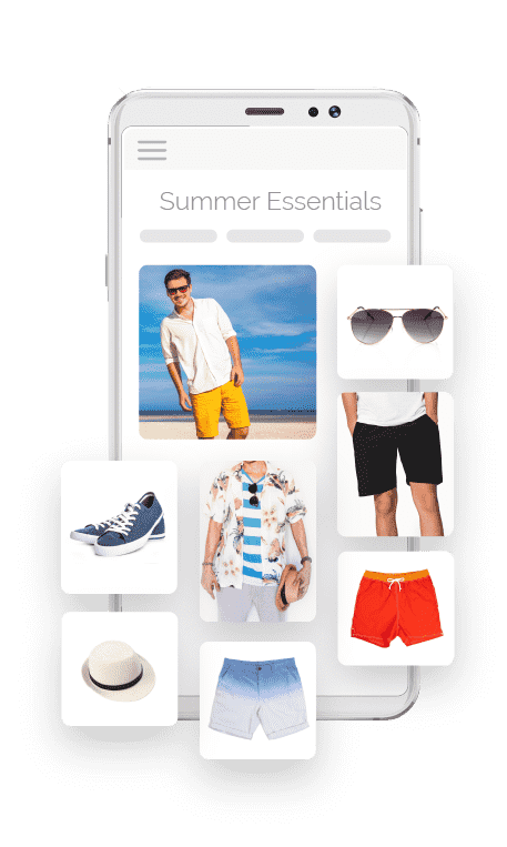 Collage demonstrating Catalog Enrichment featuring image of mobile phone with an inset photo of a man on a beach surrounded by recommended accessories and apparel to go with his Summer Essentials outfit