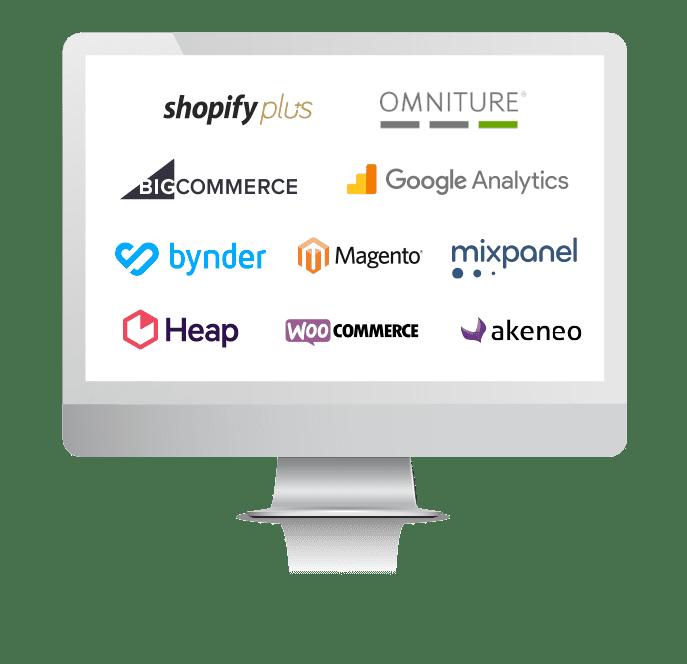 Image of computer screen displaying various e-commerce platform logos