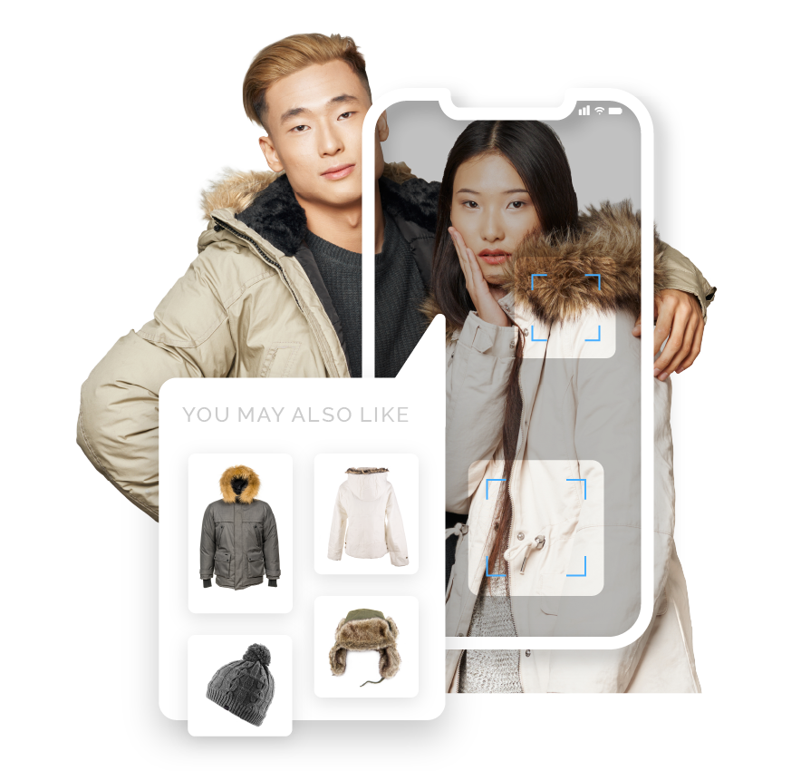 Product discoverability example showing a mobile phone screen appearing over a photo of a fashionable couple, scanning their clothing and displaying recommendations under the heading: You may also like