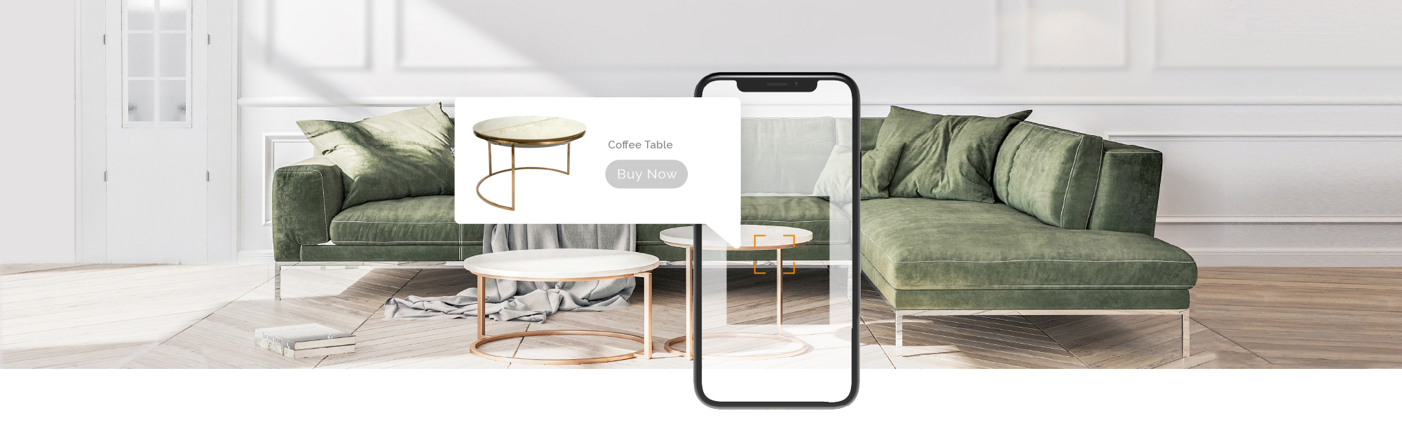 Image of a green modern sectional sofa and coffee table overlaid with a mobile phone screen displaying an ad for the coffee table