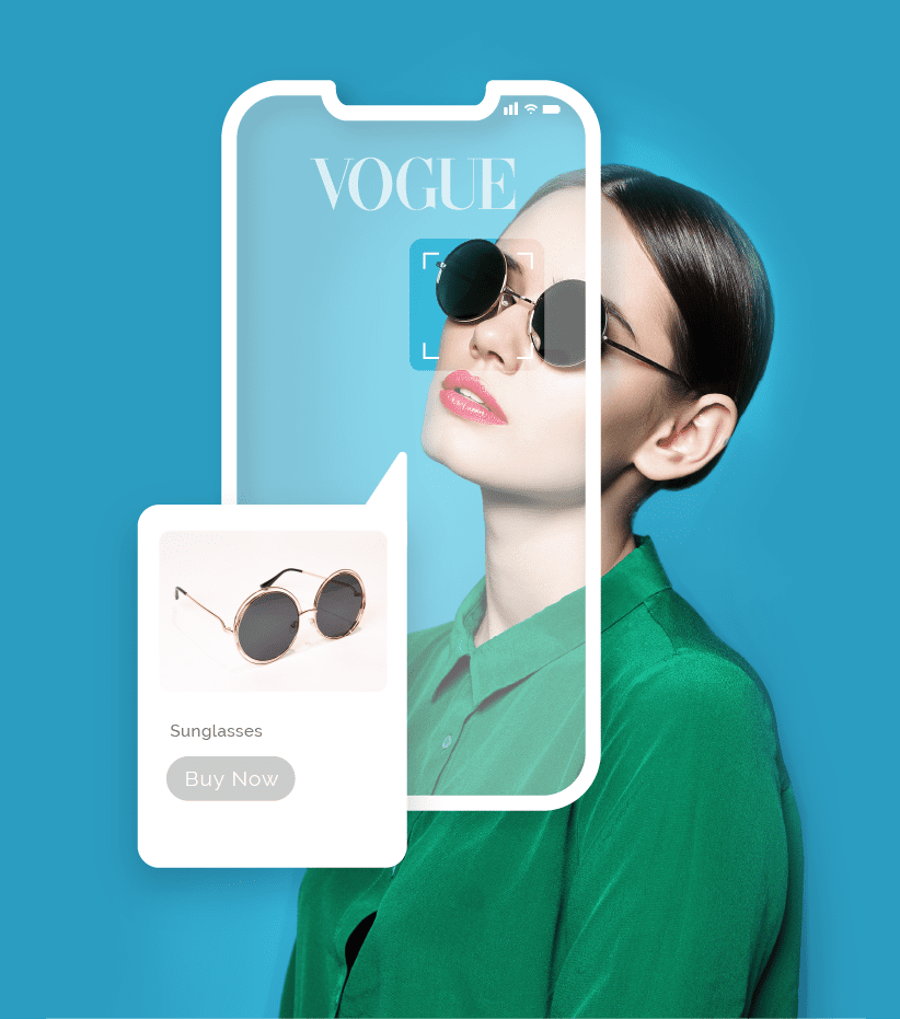 Image of a fashionable woman wearing sunglasses overlaid with a mobile phone screen displaying an ad for the sunglasses